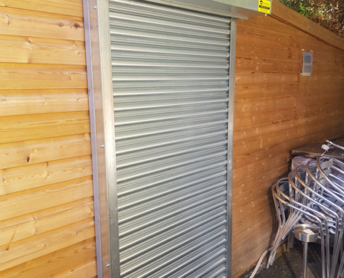 silver galvanised shutters installed
